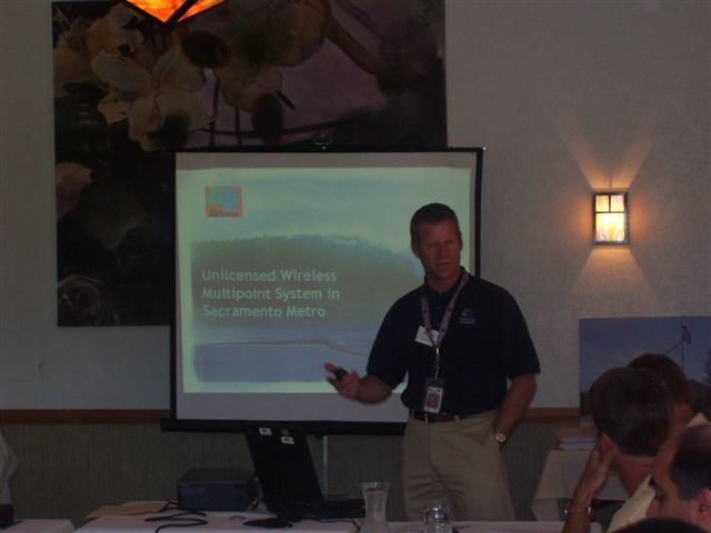 Dean Campbell, Caltrans District 3, explained the unlicensed wireless multipoint system in sacramento metro.