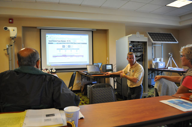 Dean Campbell demonstrates software for remote power control.